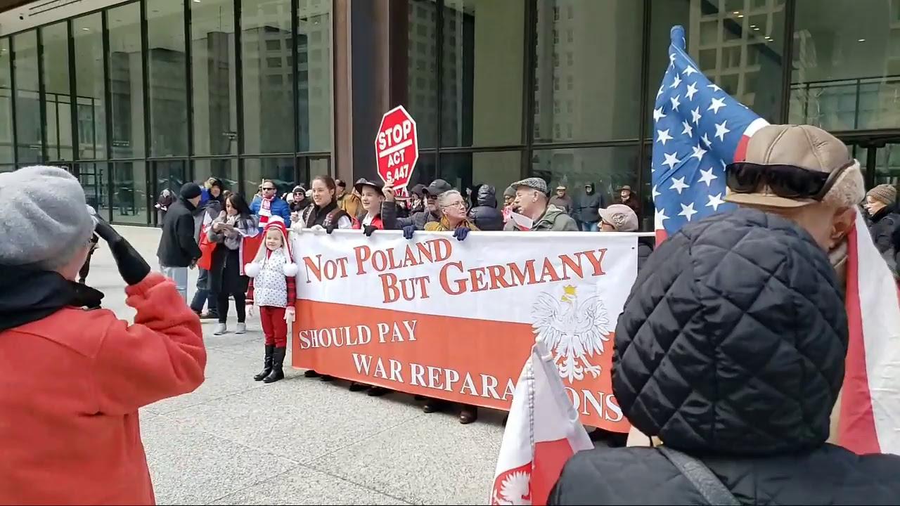 Protest Polonii amerykańskiej w Chicago przeciw ustawie S.447